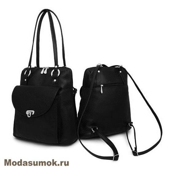 fce0bcfbebdb Сумка-рюкзак женская из натуральной кожи Protege Ц-226 черная купить ...